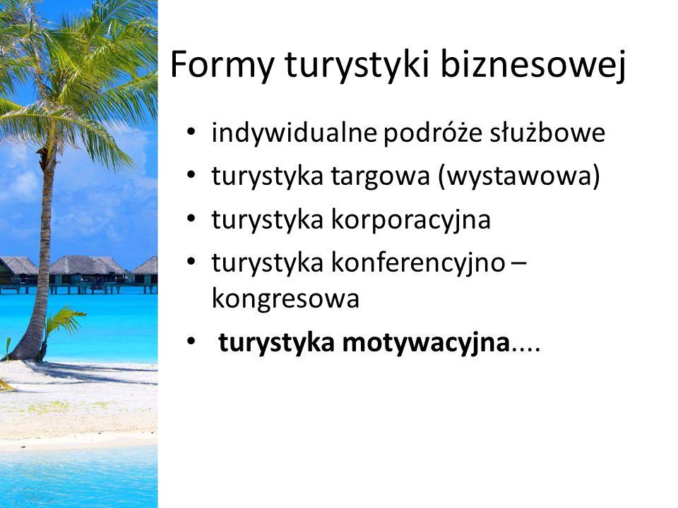 Formy turystyki biznesowej indywidualne podróże służbowe turystyka targowa (wystawowa) turystyka korporacyjna turystyka konferencyjno – kongresowa tur