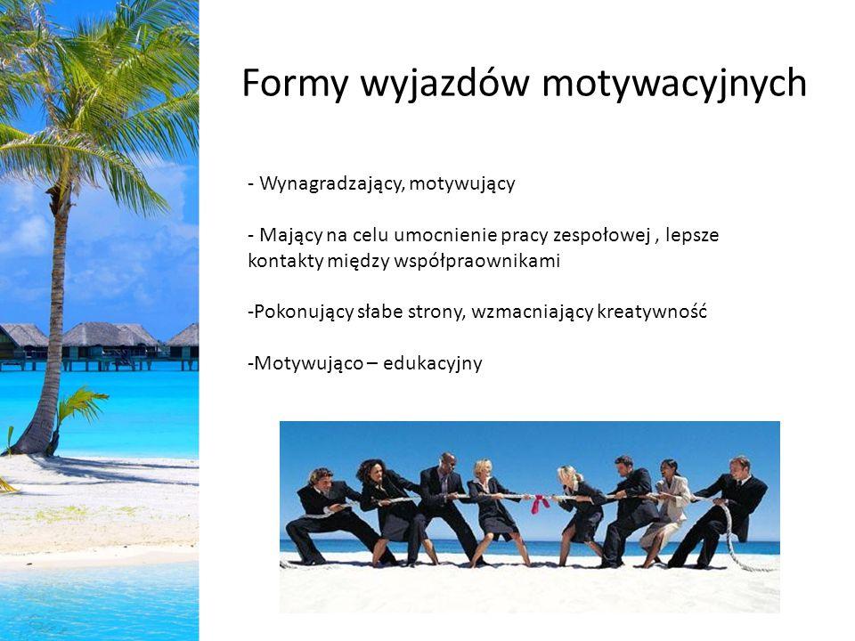 Formy wyjazdów motywacyjnych - Wynagradzający, motywujący - Mający na celu umocnienie pracy zespołowej, lepsze kontakty między współpraownikami -Pokon