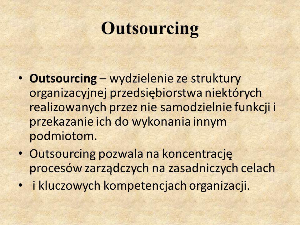 Outsourcing Outsourcing – wydzielenie ze struktury organizacyjnej przedsiębiorstwa niektórych realizowanych przez nie samodzielnie funkcji i przekazanie ich do wykonania innym podmiotom.