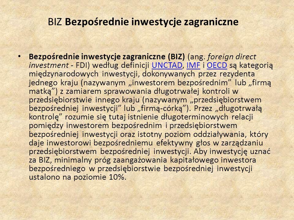 BIZ Bezpośrednie inwestycje zagraniczne Bezpośrednie inwestycje zagraniczne (BIZ) (ang.