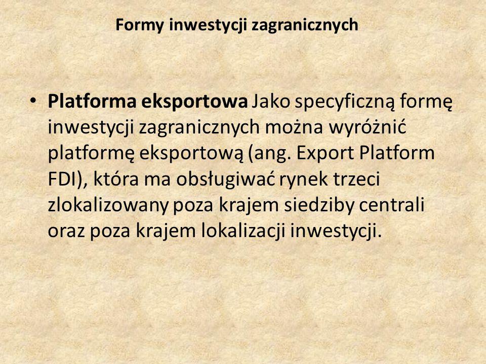 Formy inwestycji zagranicznych Platforma eksportowa Jako specyficzną formę inwestycji zagranicznych można wyróżnić platformę eksportową (ang.