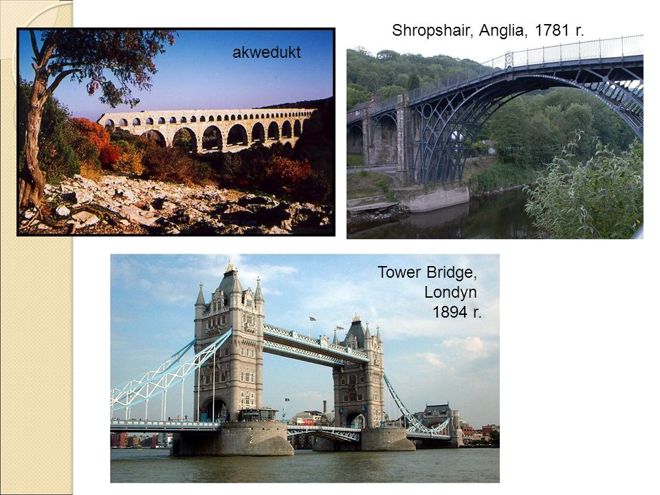 Tower Bridge, Londyn 1894 r. akwedukt Shropshair, Anglia, 1781 r.