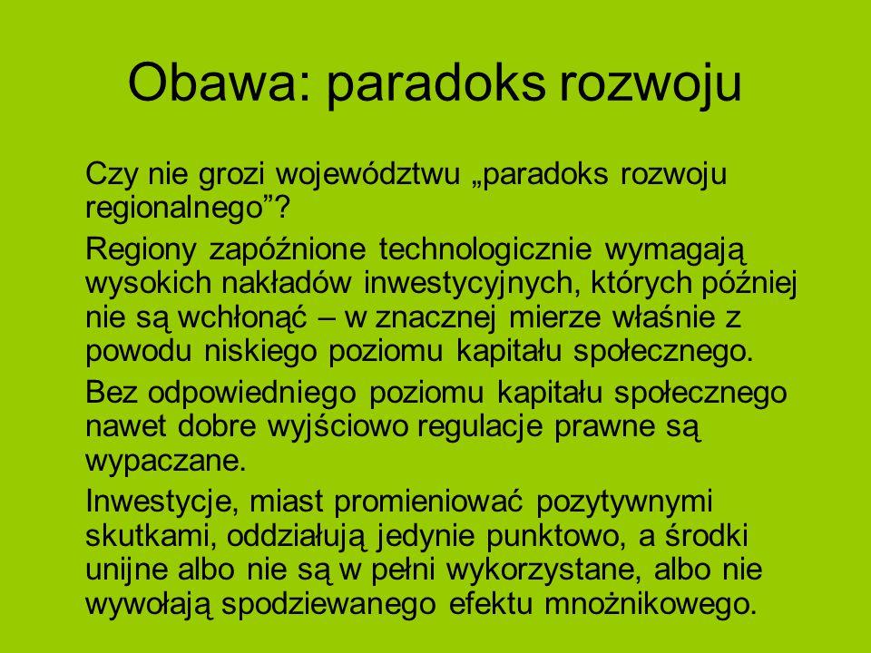 """Obawa: paradoks rozwoju Czy nie grozi województwu """"paradoks rozwoju regionalnego ."""