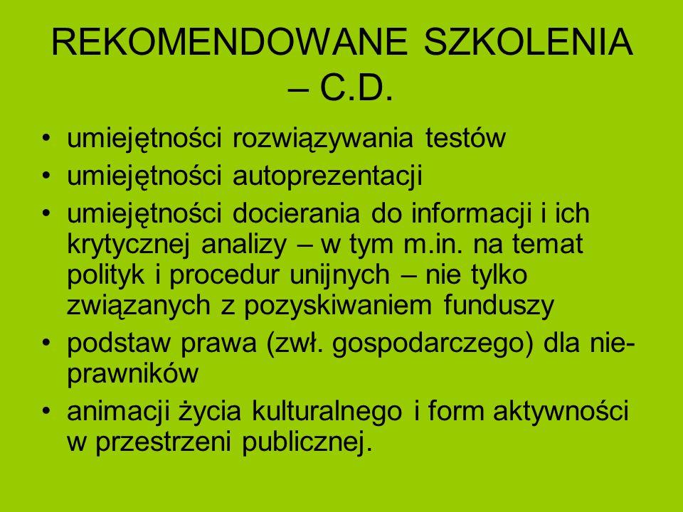 REKOMENDOWANE SZKOLENIA – C.D.
