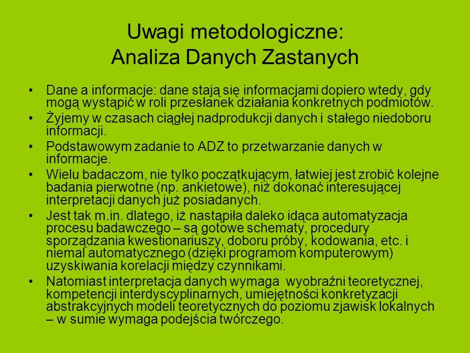 Uwagi metodologiczne: ADZ – c.d.