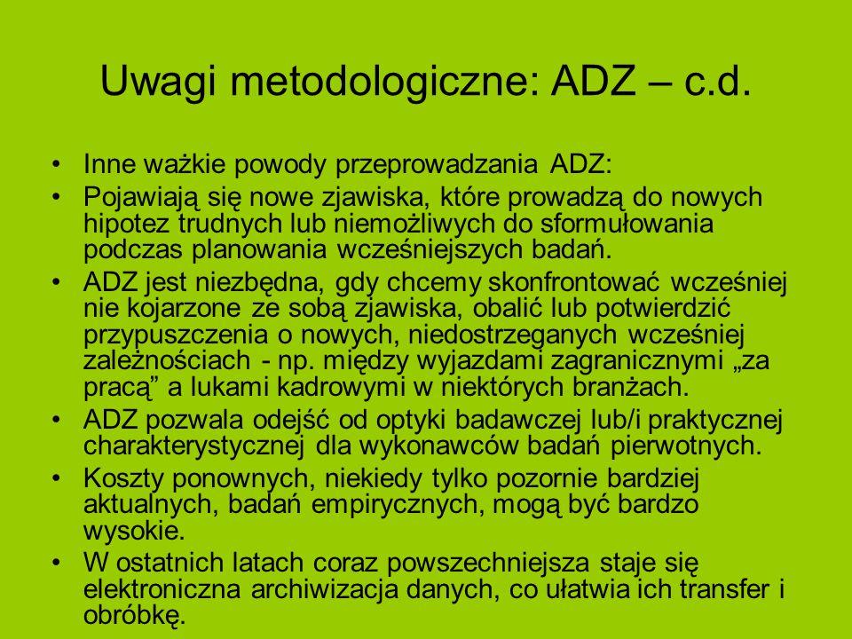 Uwagi metodologiczne: ADZ – c.d. Inne ważkie powody przeprowadzania ADZ: Pojawiają się nowe zjawiska, które prowadzą do nowych hipotez trudnych lub ni