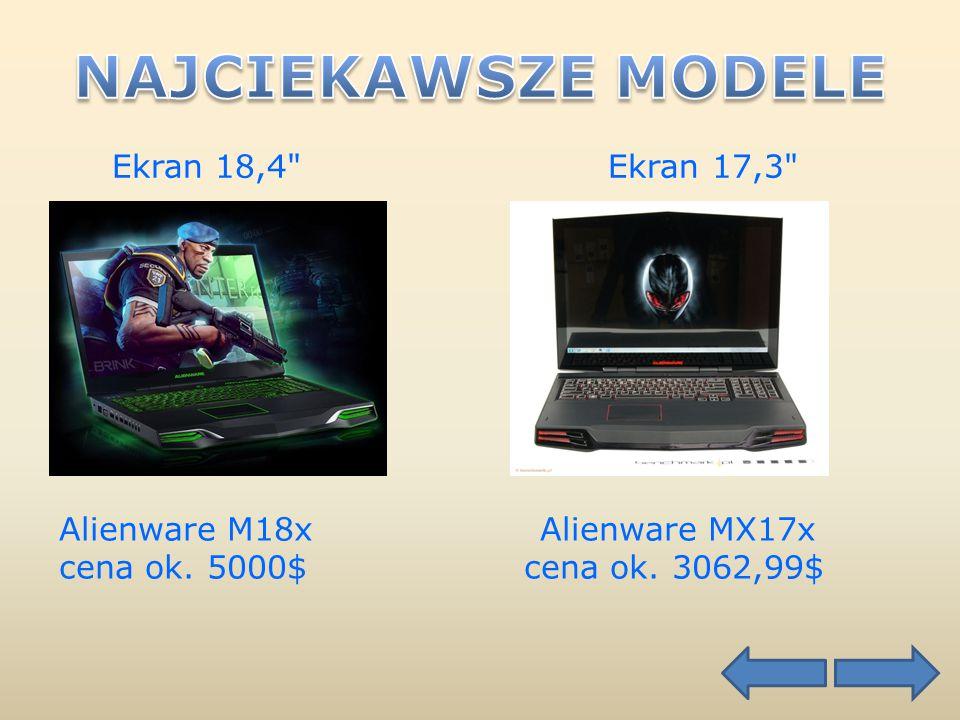 Ekran 18,4 Ekran 17,3 Alienware M18x Alienware MX17x cena ok. 5000$ cena ok. 3062,99$