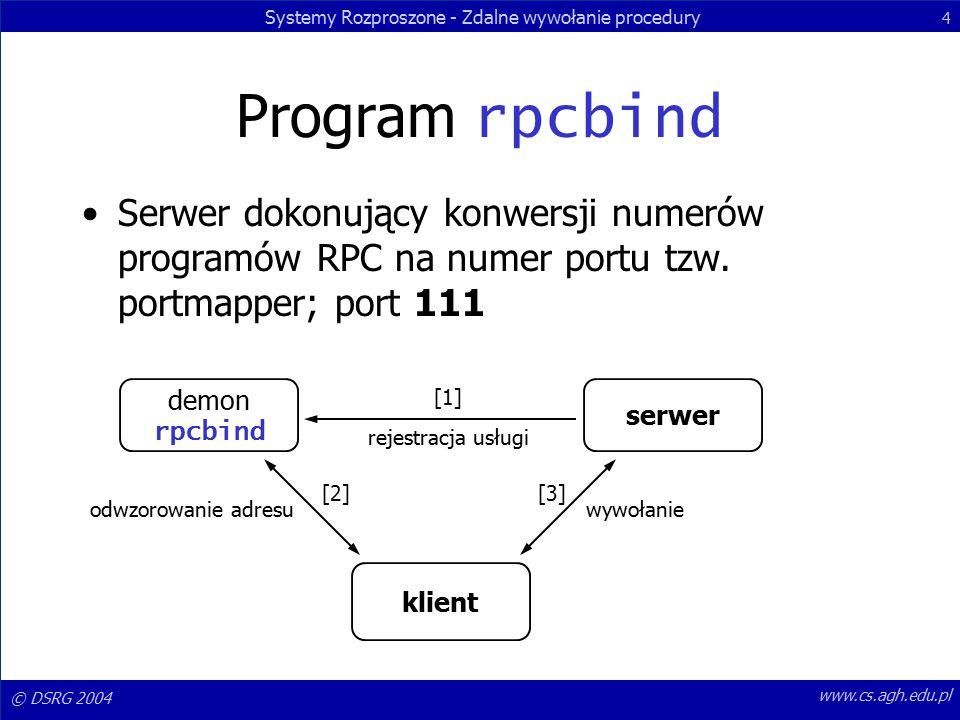 Systemy Rozproszone - Zdalne wywołanie procedury 4 © DSRG 2004 www.cs.agh.edu.pl Program rpcbind Serwer dokonujący konwersji numerów programów RPC na numer portu tzw.