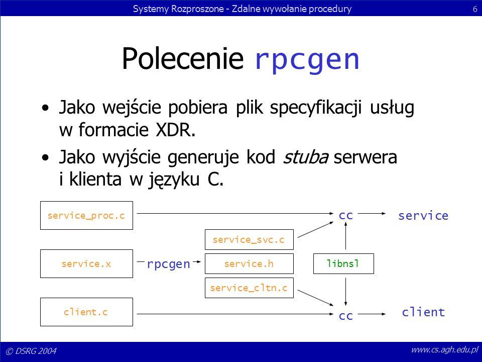 Systemy Rozproszone - Zdalne wywołanie procedury 6 © DSRG 2004 www.cs.agh.edu.pl Polecenie rpcgen Jako wejście pobiera plik specyfikacji usług w formacie XDR.