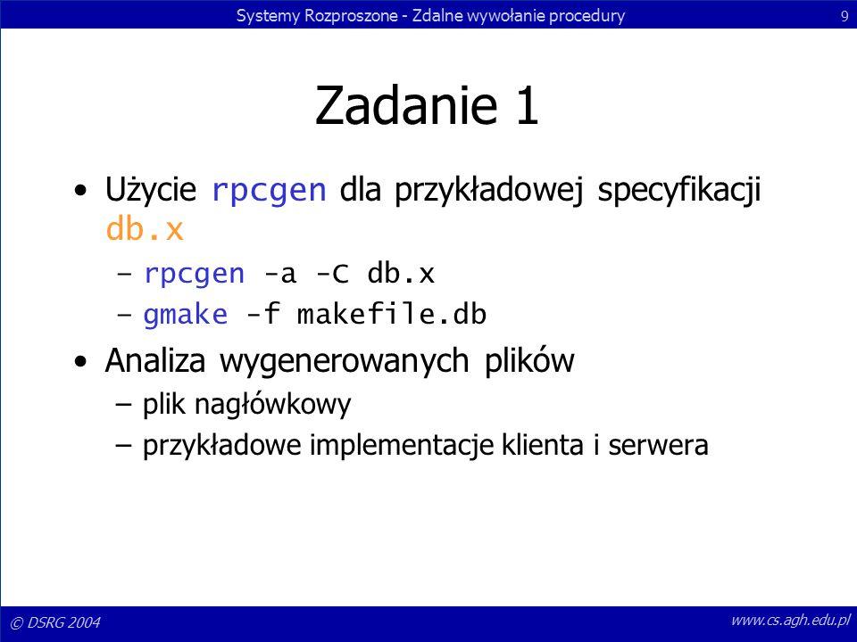 Systemy Rozproszone - Zdalne wywołanie procedury 9 © DSRG 2004 www.cs.agh.edu.pl Zadanie 1 Użycie rpcgen dla przykładowej specyfikacji db.x –rpcgen -a -C db.x –gmake -f makefile.db Analiza wygenerowanych plików –plik nagłówkowy –przykładowe implementacje klienta i serwera