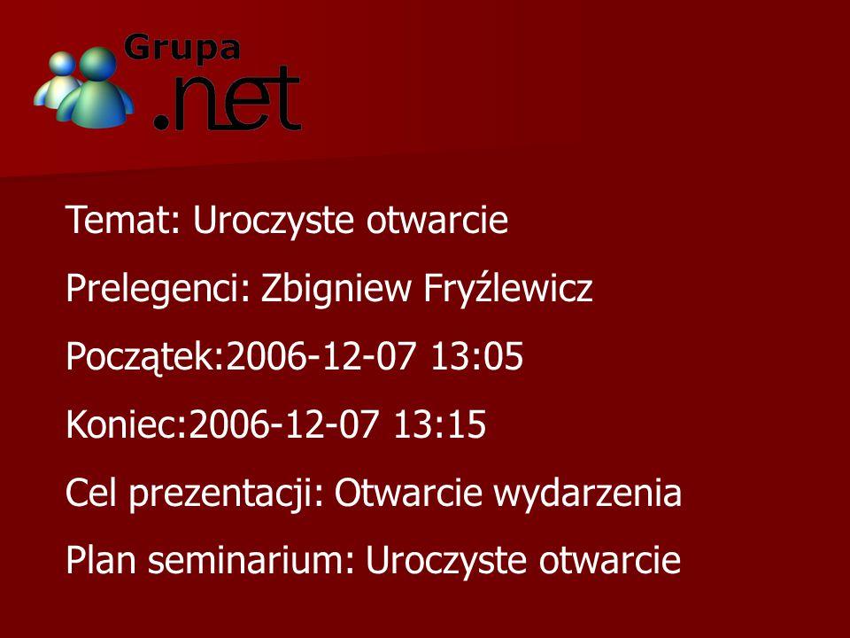 Temat: Uroczyste otwarcie Prelegenci: Zbigniew Fryźlewicz Początek:2006-12-07 13:05 Koniec:2006-12-07 13:15 Cel prezentacji: Otwarcie wydarzenia Plan seminarium: Uroczyste otwarcie