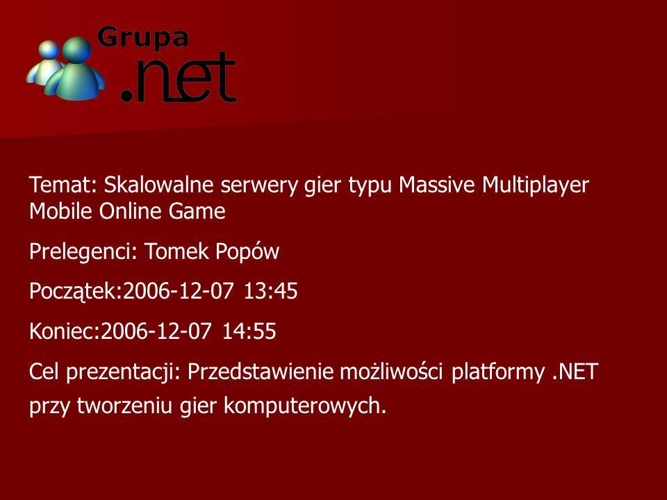 Temat: Skalowalne serwery gier typu Massive Multiplayer Mobile Online Game Prelegenci: Tomek Popów Początek:2006-12-07 13:45 Koniec:2006-12-07 14:55 Cel prezentacji: Przedstawienie możliwości platformy.NET przy tworzeniu gier komputerowych.