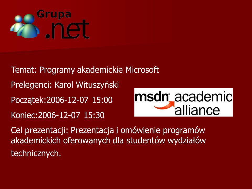 Temat: Aplikacje internetowe w ASP.NET 2.0 i ASP.NET AJAX Prelegenci: Karol Wituszyński Początek:2006-12-07 15:30 Koniec:2006-12-07 16:45 Cel prezentacji: Przedstawienie w jaki sposób ASP.NET AJAX pomaga tworzyć ciekawsze strony, które poziomem swojej interaktywności przypominają live.com, nie są nieustannie przeładowywane i po prostu wprawiają w zachwyt każdego kto je ogląda.