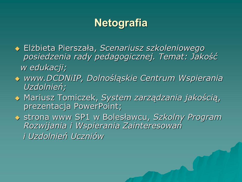 Netografia  Elżbieta Pierszała, Scenariusz szkoleniowego posiedzenia rady pedagogicznej. Temat: Jakość w edukacji; w edukacji;  www.DCDNiIP, Dolnośl