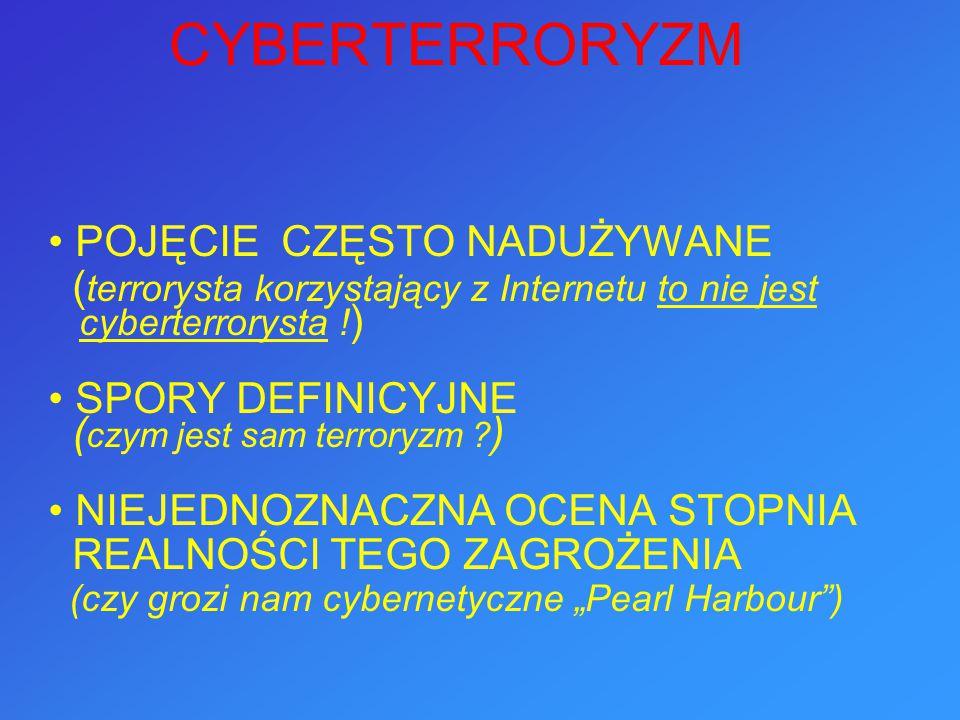 POJĘCIE CZĘSTO NADUŻYWANE ( terrorysta korzystający z Internetu to nie jest cyberterrorysta ! ) SPORY DEFINICYJNE ( czym jest sam terroryzm ? ) NIEJED