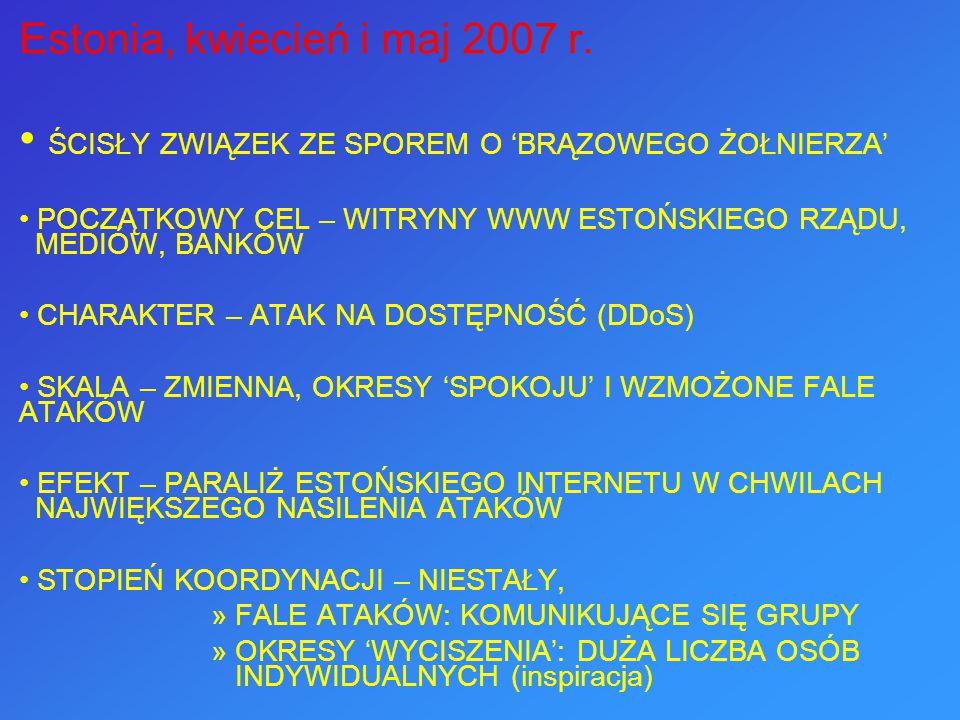 Estonia, kwiecień i maj 2007 r. ŚCISŁY ZWIĄZEK ZE SPOREM O 'BRĄZOWEGO ŻOŁNIERZA' POCZĄTKOWY CEL – WITRYNY WWW ESTOŃSKIEGO RZĄDU, MEDIÓW, BANKÓW CHARAK