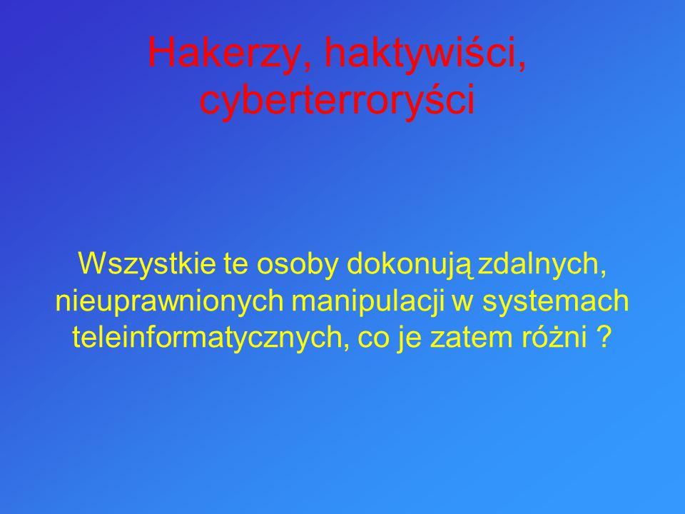 POJĘCIE CZĘSTO NADUŻYWANE ( terrorysta korzystający z Internetu to nie jest cyberterrorysta .