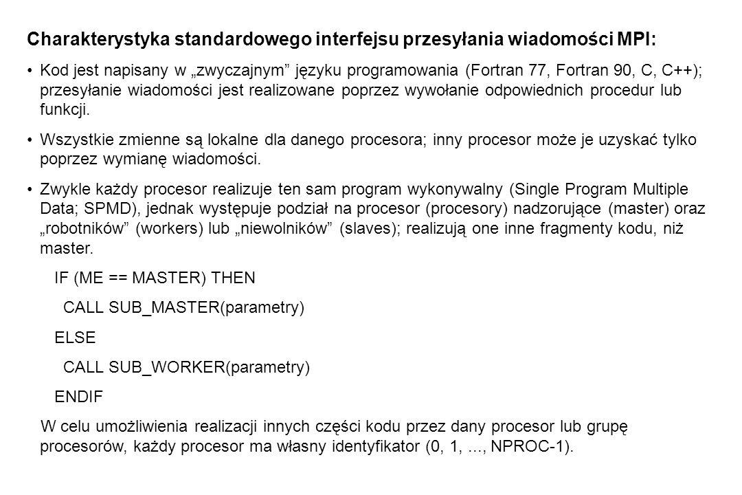 """Charakterystyka standardowego interfejsu przesyłania wiadomości MPI: Kod jest napisany w """"zwyczajnym języku programowania (Fortran 77, Fortran 90, C, C++); przesyłanie wiadomości jest realizowane poprzez wywołanie odpowiednich procedur lub funkcji."""