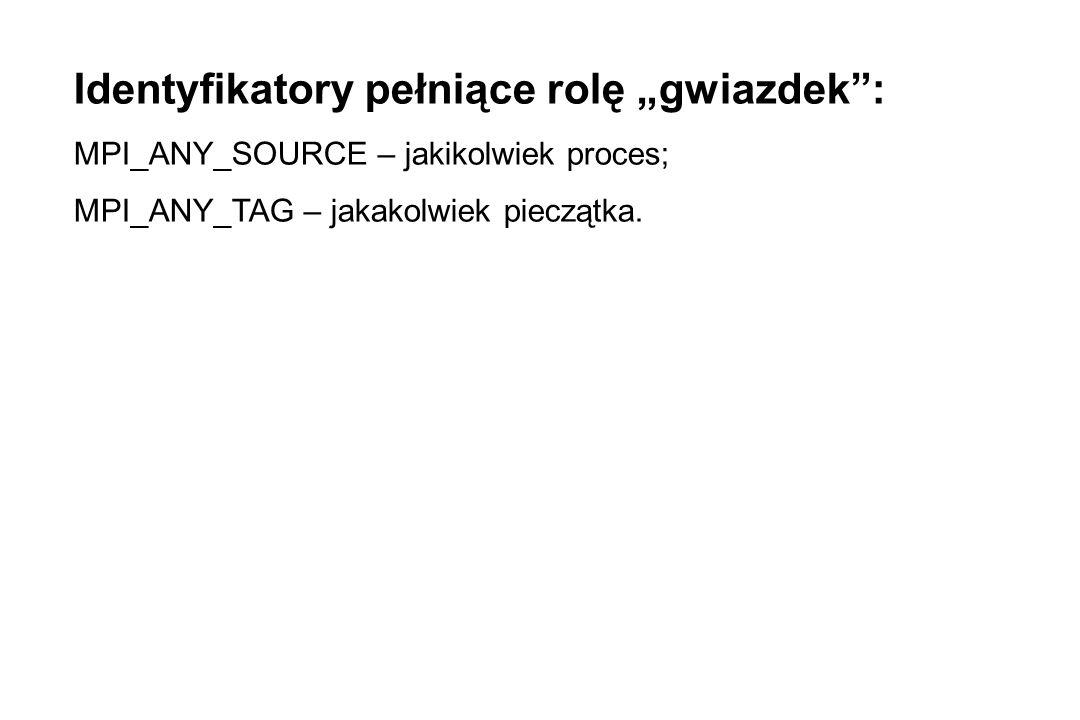 """Identyfikatory pełniące rolę """"gwiazdek : MPI_ANY_SOURCE – jakikolwiek proces; MPI_ANY_TAG – jakakolwiek pieczątka."""