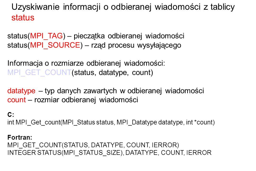 status(MPI_TAG) – pieczątka odbieranej wiadomości status(MPI_SOURCE) – rząd procesu wysyłającego Informacja o rozmiarze odbieranej wiadomości: MPI_GET_COUNT(status, datatype, count) datatype – typ danych zawartych w odbieranej wiadomości count – rozmiar odbieranej wiadomości C: int MPI_Get_count(MPI_Status status, MPI_Datatype datatype, int *count) Fortran: MPI_GET_COUNT(STATUS, DATATYPE, COUNT, IERROR) INTEGER STATUS(MPI_STATUS_SIZE), DATATYPE, COUNT, IERROR Uzyskiwanie informacji o odbieranej wiadomości z tablicy status