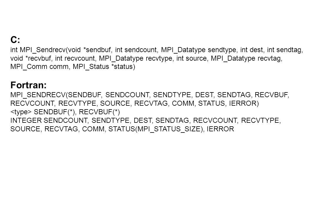 C: int MPI_Sendrecv(void *sendbuf, int sendcount, MPI_Datatype sendtype, int dest, int sendtag, void *recvbuf, int recvcount, MPI_Datatype recvtype, int source, MPI_Datatype recvtag, MPI_Comm comm, MPI_Status *status) Fortran: MPI_SENDRECV(SENDBUF, SENDCOUNT, SENDTYPE, DEST, SENDTAG, RECVBUF, RECVCOUNT, RECVTYPE, SOURCE, RECVTAG, COMM, STATUS, IERROR) SENDBUF(*), RECVBUF(*) INTEGER SENDCOUNT, SENDTYPE, DEST, SENDTAG, RECVCOUNT, RECVTYPE, SOURCE, RECVTAG, COMM, STATUS(MPI_STATUS_SIZE), IERROR