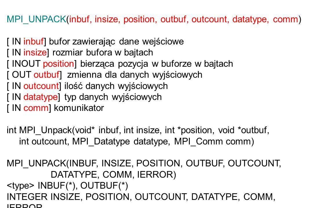 MPI_UNPACK(inbuf, insize, position, outbuf, outcount, datatype, comm) [ IN inbuf] bufor zawierając dane wejściowe [ IN insize] rozmiar bufora w bajtach [ INOUT position] bierząca pozycja w buforze w bajtach [ OUT outbuf] zmienna dla danych wyjściowych [ IN outcount] ilość danych wyjściowych [ IN datatype] typ danych wyjściowych [ IN comm] komunikator int MPI_Unpack(void* inbuf, int insize, int *position, void *outbuf, int outcount, MPI_Datatype datatype, MPI_Comm comm) MPI_UNPACK(INBUF, INSIZE, POSITION, OUTBUF, OUTCOUNT, DATATYPE, COMM, IERROR) INBUF(*), OUTBUF(*) INTEGER INSIZE, POSITION, OUTCOUNT, DATATYPE, COMM, IERROR