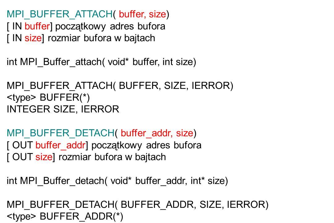 MPI_BUFFER_ATTACH( buffer, size) [ IN buffer] początkowy adres bufora [ IN size] rozmiar bufora w bajtach int MPI_Buffer_attach( void* buffer, int size) MPI_BUFFER_ATTACH( BUFFER, SIZE, IERROR) BUFFER(*) INTEGER SIZE, IERROR MPI_BUFFER_DETACH( buffer_addr, size) [ OUT buffer_addr] początkowy adres bufora [ OUT size] rozmiar bufora w bajtach int MPI_Buffer_detach( void* buffer_addr, int* size) MPI_BUFFER_DETACH( BUFFER_ADDR, SIZE, IERROR) BUFFER_ADDR(*) INTEGER SIZE, IERROR