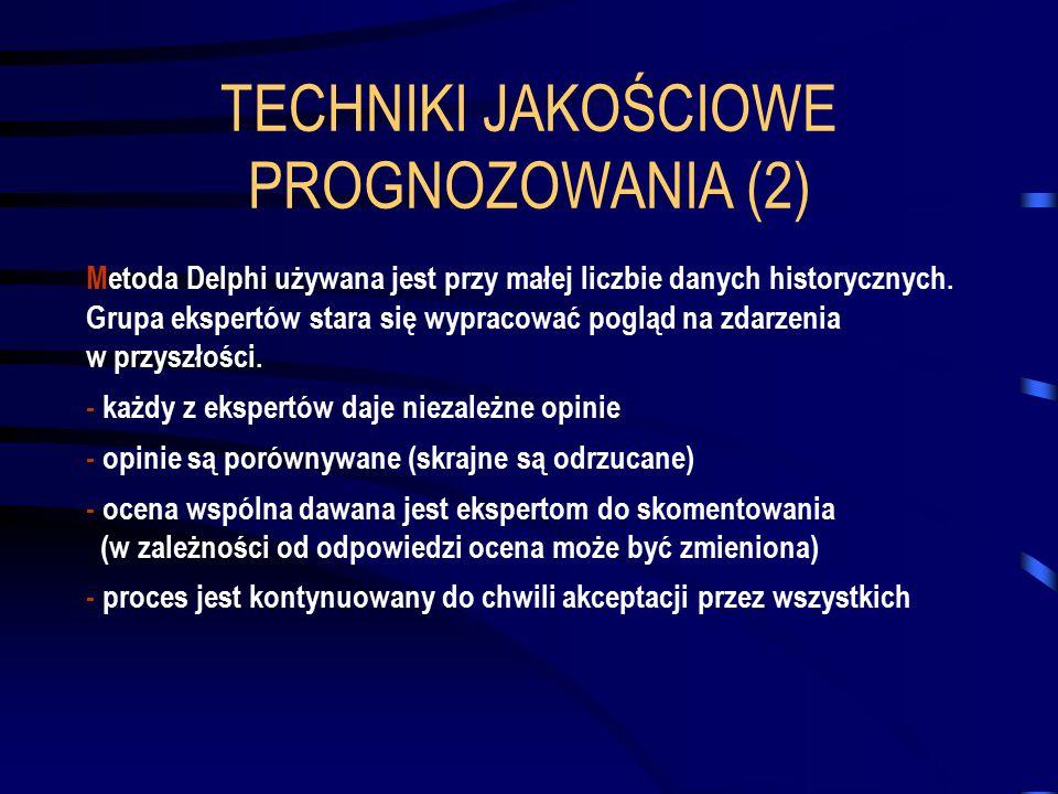 TECHNIKI JAKOŚCIOWE PROGNOZOWANIA (2) Metoda Delphi używana jest przy małej liczbie danych historycznych. Grupa ekspertów stara się wypracować pogląd