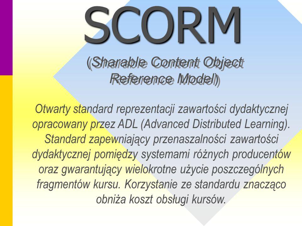 SCORM (Sharable Content Object Reference Model) Otwarty standard reprezentacji zawartości dydaktycznej opracowany przez ADL (Advanced Distributed Learning).