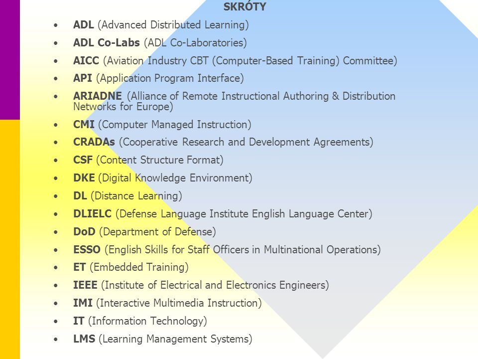 SKRÓTY ADL (Advanced Distributed Learning) ADL Co-Labs (ADL Co-Laboratories) AICC (Aviation Industry CBT (Computer-Based Training) Committee) API (Application Program Interface) ARIADNE (Alliance of Remote Instructional Authoring & Distribution Networks for Europe) CMI (Computer Managed Instruction) CRADAs (Cooperative Research and Development Agreements) CSF (Content Structure Format) DKE (Digital Knowledge Environment) DL (Distance Learning) DLIELC (Defense Language Institute English Language Center) DoD (Department of Defense) ESSO (English Skills for Staff Officers in Multinational Operations) ET (Embedded Training) IEEE (Institute of Electrical and Electronics Engineers) IMI (Interactive Multimedia Instruction) IT (Information Technology) LMS (Learning Management Systems)