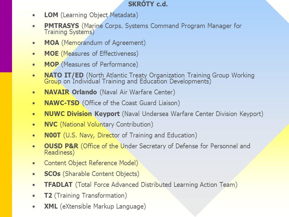 SKRÓTY c.d. LOM (Learning Object Metadata) PMTRASYS (Marine Corps.