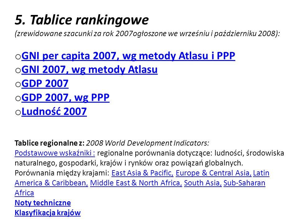5. Tablice rankingowe (zrewidowane szacunki za rok 2007ogłoszone we wrześniu i październiku 2008): o GNI per capita 2007, wg metody Atlasu i PPP GNI p