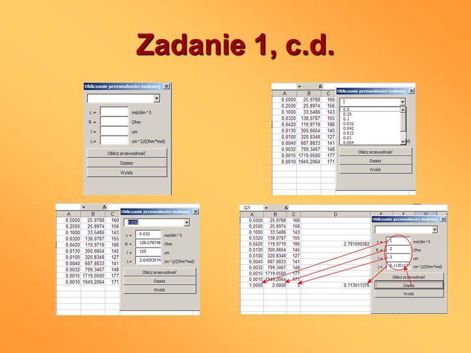 Zadanie 2 Dodać do aplikacji z zadania 1 opcje (dwa checkboxy i przycisk) dopisywania w kolejnych kolumnach pierwiastka ze stężenia (5.