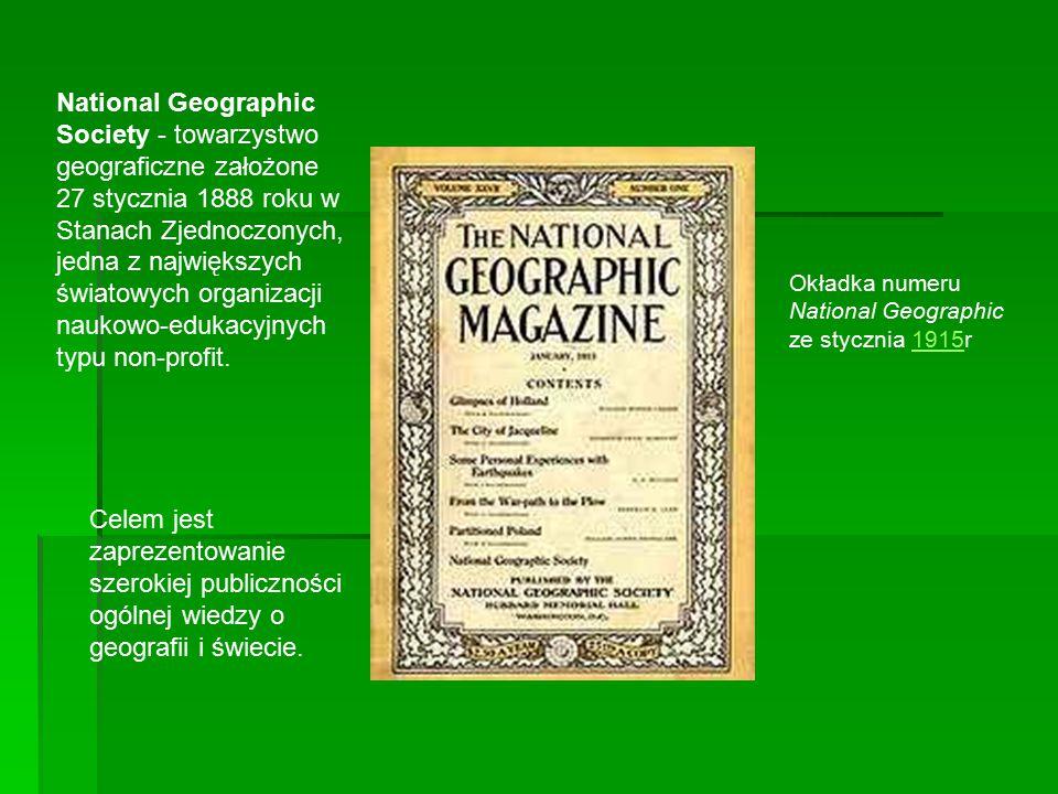 Zakres wiedzy, jaką towarzystwo upowszechnia i badań, jakie finansuje obejmuje, oprócz geografii i innych nauk przyrodniczych, również ochronę środowiska i historię, w tym historię cywilizacji.