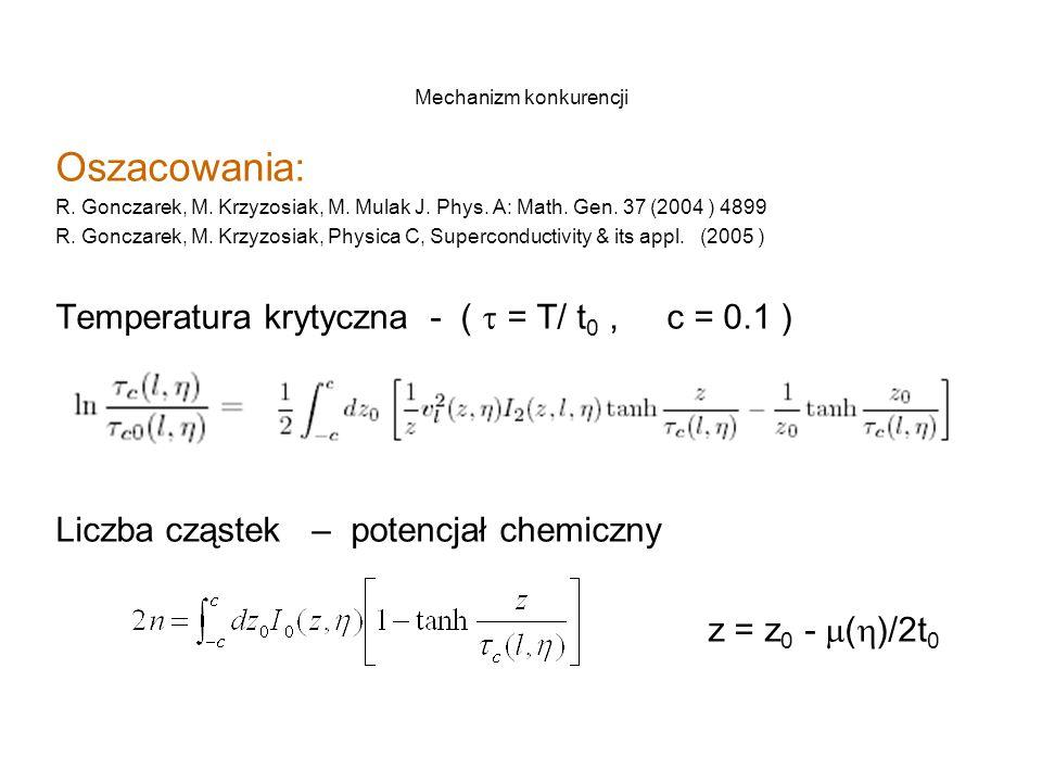 Mechanizm konkurencji Oszacowania: R. Gonczarek, M.