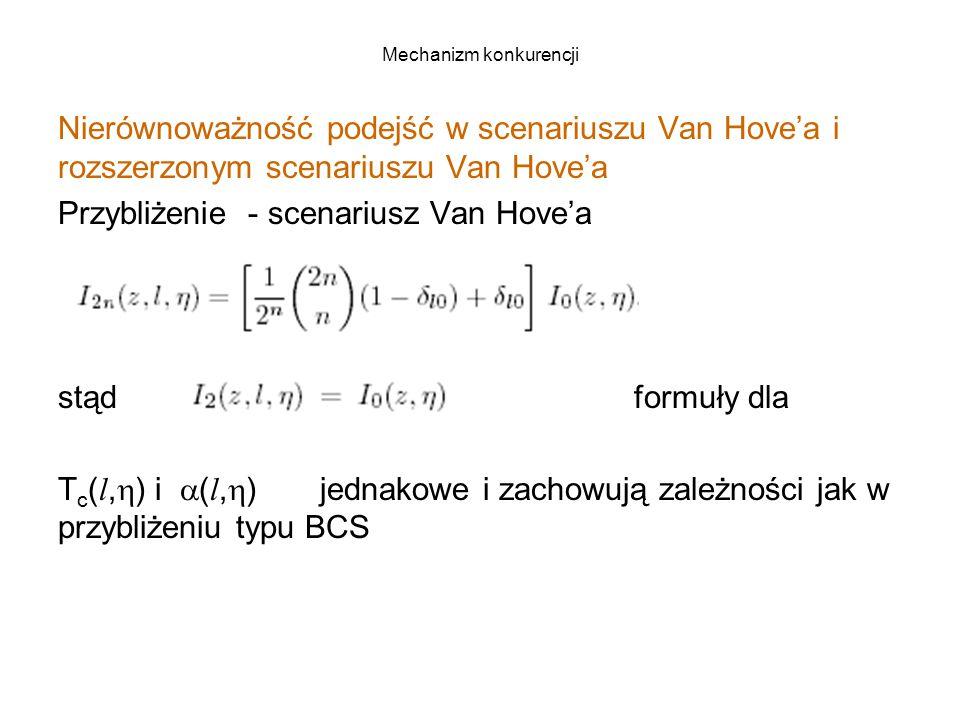 Mechanizm konkurencji Nierównoważność podejść w scenariuszu Van Hove'a i rozszerzonym scenariuszu Van Hove'a Przybliżenie - scenariusz Van Hove'a stąd formuły dla T c ( l,  ) i  ( l,  ) jednakowe i zachowują zależności jak w przybliżeniu typu BCS
