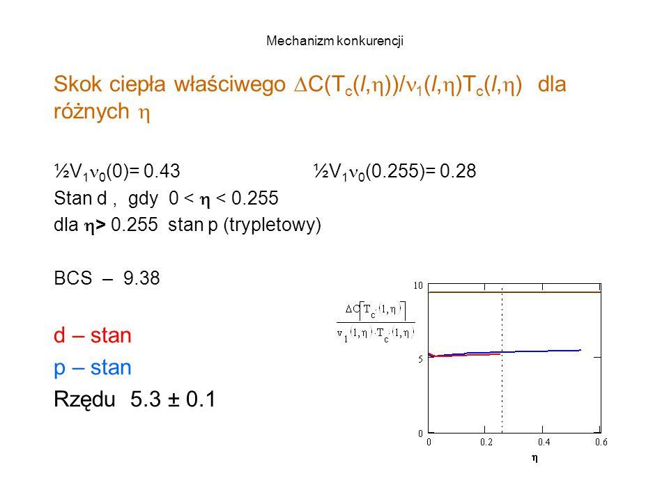 Mechanizm konkurencji Skok ciepła właściwego  C(T c (l,  ))/ 1 (l,  )T c (l,  ) dla różnych  ½V 1 0 (0)= 0.43 ½V 1 0 (0.255)= 0.28 Stan d, gdy 0 <  < 0.255 dla  > 0.255 stan p (trypletowy) BCS – 9.38 d – stan p – stan Rzędu 5.3 ± 0.1