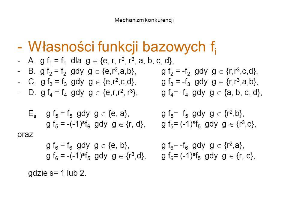 Mechanizm konkurencji -Własności funkcji bazowych f i -A.