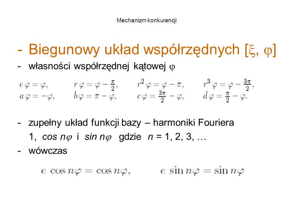 Mechanizm konkurencji -Biegunowy układ współrzędnych [ ,  ] -własności współrzędnej kątowej  -zupełny układ funkcji bazy – harmoniki Fouriera 1, cos n  i sin n  gdzie n = 1, 2, 3, … -wówczas