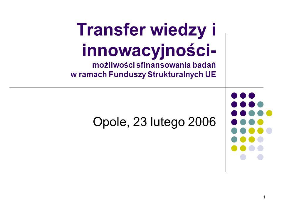 1 Transfer wiedzy i innowacyjności- możliwości sfinansowania badań w ramach Funduszy Strukturalnych UE Opole, 23 lutego 2006
