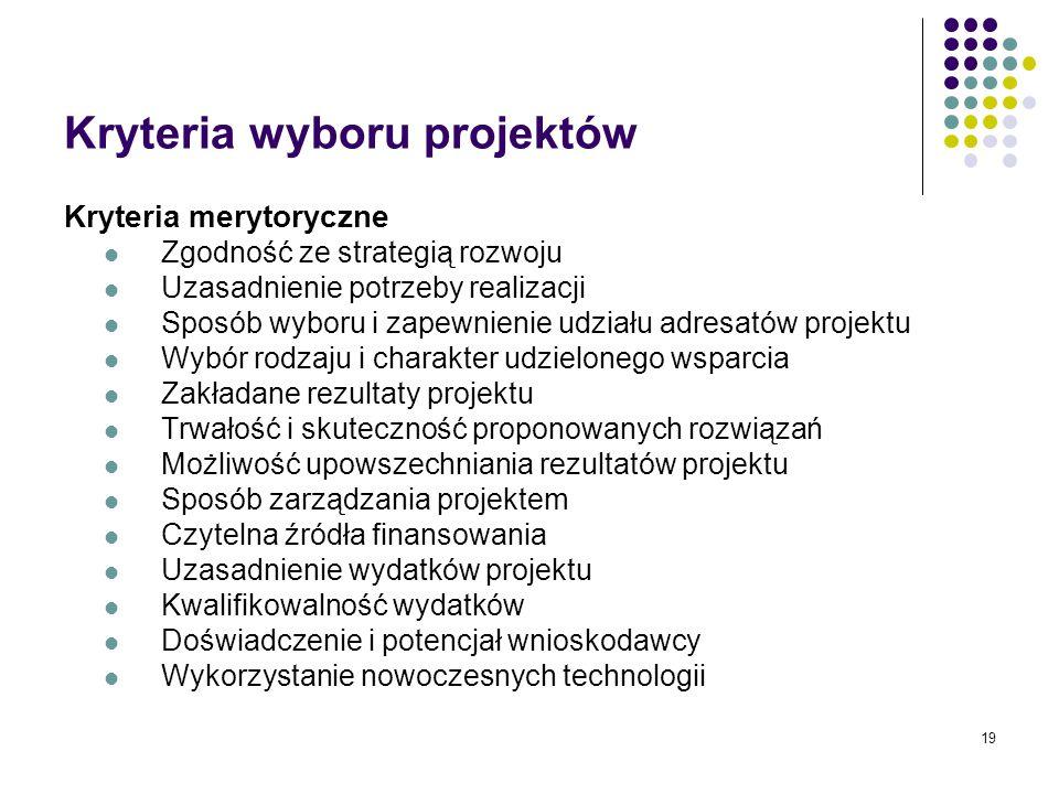 19 Kryteria wyboru projektów Kryteria merytoryczne Zgodność ze strategią rozwoju Uzasadnienie potrzeby realizacji Sposób wyboru i zapewnienie udziału adresatów projektu Wybór rodzaju i charakter udzielonego wsparcia Zakładane rezultaty projektu Trwałość i skuteczność proponowanych rozwiązań Możliwość upowszechniania rezultatów projektu Sposób zarządzania projektem Czytelna źródła finansowania Uzasadnienie wydatków projektu Kwalifikowalność wydatków Doświadczenie i potencjał wnioskodawcy Wykorzystanie nowoczesnych technologii