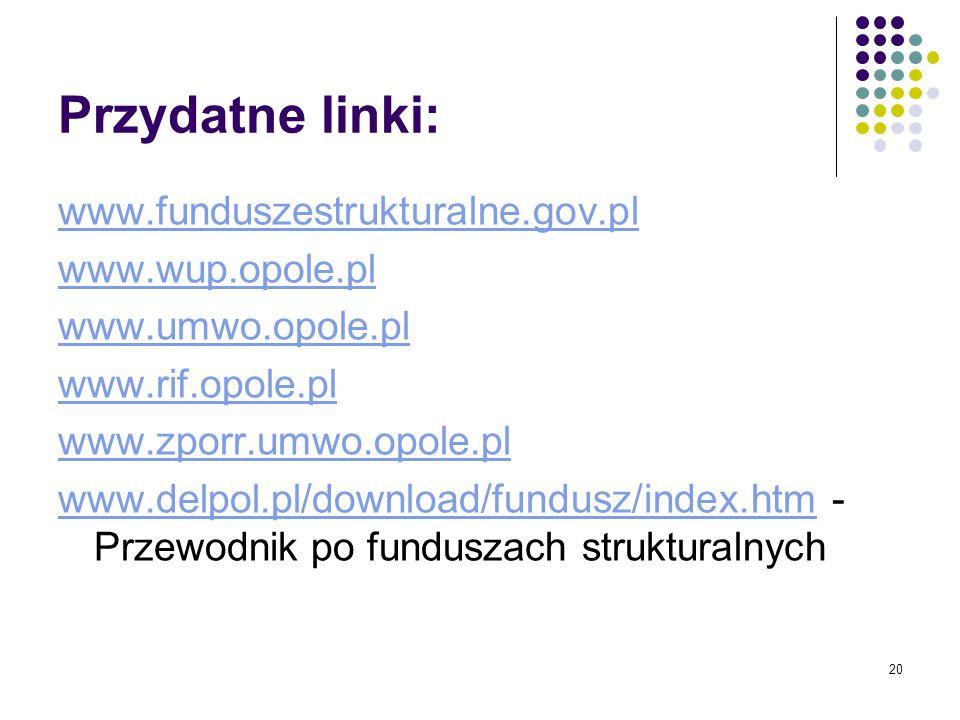 20 Przydatne linki: www.funduszestrukturalne.gov.pl www.wup.opole.pl www.umwo.opole.pl www.rif.opole.pl www.zporr.umwo.opole.pl www.delpol.pl/download/fundusz/index.htmwww.delpol.pl/download/fundusz/index.htm - Przewodnik po funduszach strukturalnych