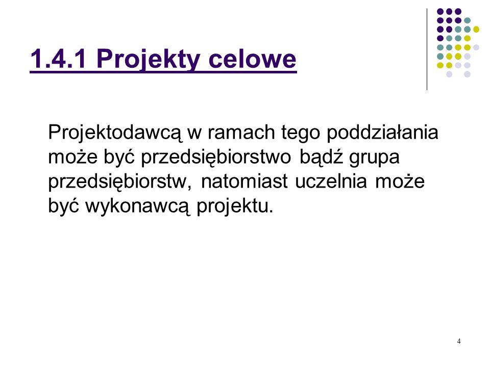 5 1.4.1 Projekty celowe Projekty składa się do Ministerstwa Edukacji i Nauki Departament Badań na rzecz Gospodarki Ul.