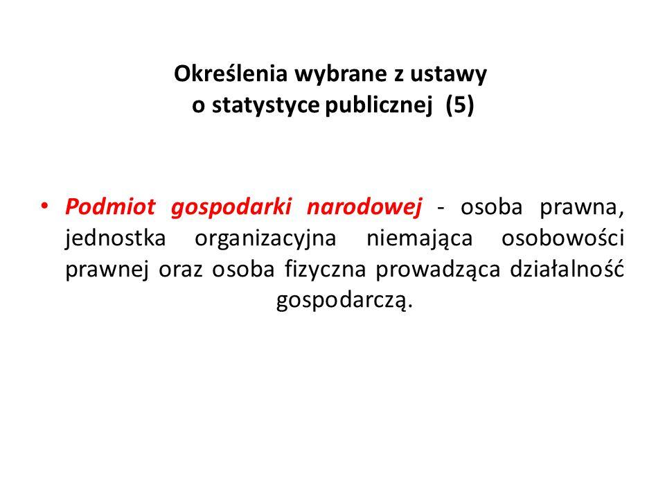 Określenia wybrane z ustawy o statystyce publicznej (5) Podmiot gospodarki narodowej - osoba prawna, jednostka organizacyjna niemająca osobowości praw