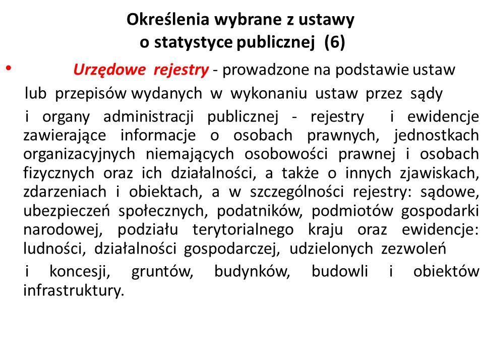 Określenia wybrane z ustawy o statystyce publicznej (6) Urzędowe rejestry - prowadzone na podstawie ustaw lub przepisów wydanych w wykonaniu ustaw prz