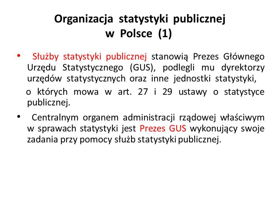 Organizacja statystyki publicznej w Polsce (1) Służby statystyki publicznej stanowią Prezes Głównego Urzędu Statystycznego (GUS), podlegli mu dyrektor