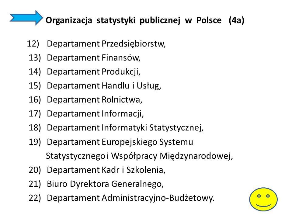 Organizacja statystyki publicznej w Polsce (4a) 12)Departament Przedsiębiorstw, 13)Departament Finansów, 14)Departament Produkcji, 15)Departament Hand