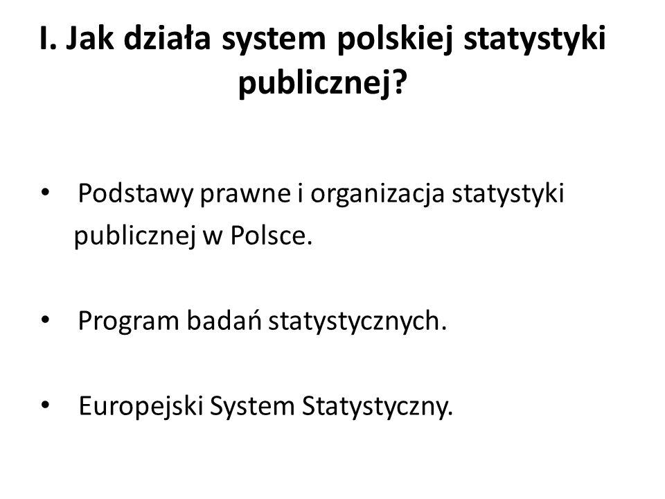 I. Jak działa system polskiej statystyki publicznej? Podstawy prawne i organizacja statystyki publicznej w Polsce. Program badań statystycznych. Europ