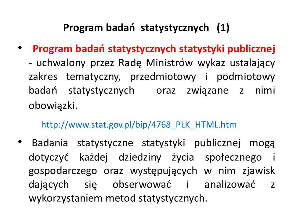 Program badań statystycznych (1) Program badań statystycznych statystyki publicznej - uchwalony przez Radę Ministrów wykaz ustalający zakres tematyczn