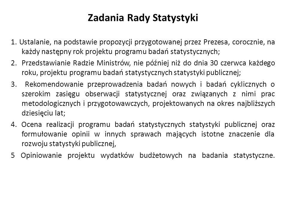 Zadania Rady Statystyki 1. Ustalanie, na podstawie propozycji przygotowanej przez Prezesa, corocznie, na każdy następny rok projektu programu badań st